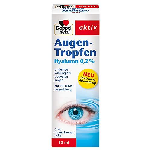 Doppelherz Augen-Tropfen Hyaluron 0,2% – Augentropfen ohne Konservierungsstoffe mit lindernder Wirkung bei trockenen Augen – 10 ml sterile Lösung