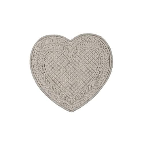 BLANC MARICLO' Juego de 2 manteles individuales con forma de corazón gris, 30 x 32 cm, A2068799MG