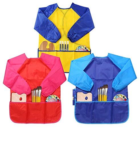 LEADSTAR 2-pack 2-6 jaar kinderen baby kunst schilderijen waterdicht kittel schort rok met mouwen, blauw en rood