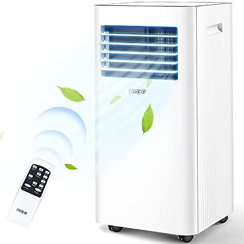 pasapair Climatiseur Portable-4 en 1 Refroidisseur d'air Ventilateur Déshumidificateur,9000BTU/h pour chambre jusqu'à 26㎡-Minuterie 24h/Télécommande/Set Isolation fenêtre/Eco R290 [Classe énergie A]