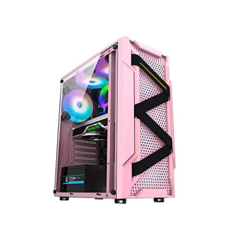 KDR Caja PC Gaming ATX,Caja Torre ATX, M-ATX, Mini-ITX,2 HDD + 2 SSD Disco Duro bit 6 × Ventilador Admite Refrigeración Líquida