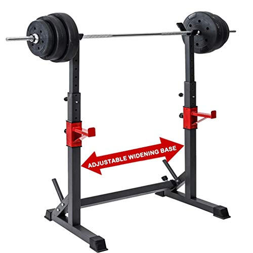 Adult Barbell Rack 550LBS Max Load Squat Stand Dipping Station Heavy Duty Dip Stand-Barbell Weight Bench Adjustable for Gym/Home Gym Black