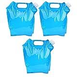 Xndz Bolsa de Agua Potable, contenedor de Agua Potable Azul Plegable PE de 5L, Picnic portátil para Acampar, Barbacoa al Aire Libre
