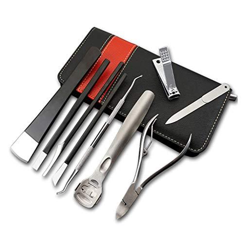 Juego de manicura Juego de cortaúñas Acero for herramientas de pedicura pedicura juego de cuchillos de acero del hogar Señora cortauñas 9 piezas Juego de cuchillos de pedicura (Negro) Kit de manicura