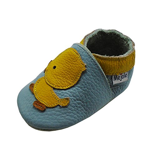 Mejale Baby Shoes Soft Sole Leather Crawling Moccasins Cartoon Duck Infant Toddler First Walker Slippers(18-24 Months, Sky Blue)