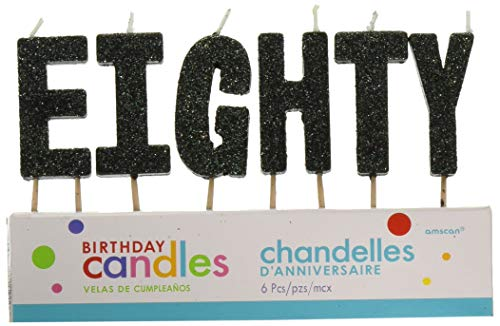 'E-I-G-H-T-Y' Black Glitter Birthday Candles   Party Supply