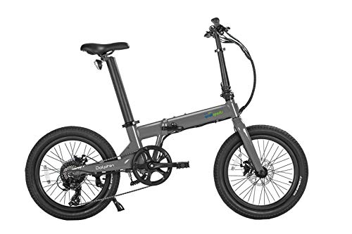 """SIVRAC Quali Sports Dolphin Mountain Bike, 350W Powerful Hub Motor, Large Capacity Removable Lithium Battery (36V 14Ah), 21 Speed Gear, 20x2.35"""" Wide Tyre, 60+ Miles (Glossy Matellic Grey)"""