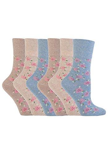 Gentle Grips 6 Parr Damen Elastische Socken, 37-42 eur blumen- Socken (Blau und Beige GG46)