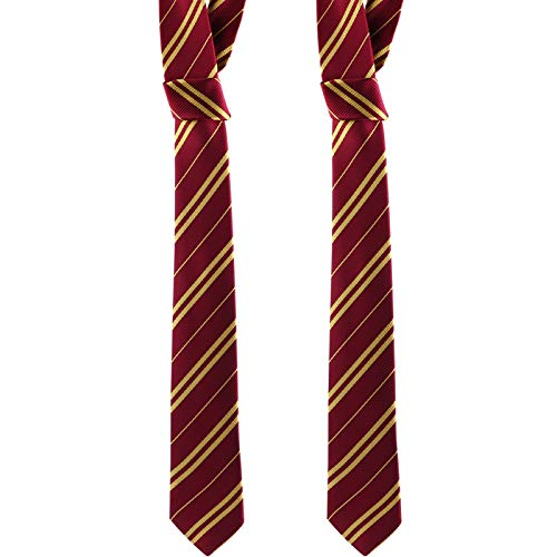 Tinabless Striped Tie (2 Packs), Cosplay Costumes Accessories for Halloween and Christmas, Polyester Silk Tie Fits Most Kids, Men and Women (Red)