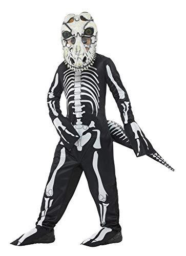 Halloween! Smiffys Deluxe T-rex-Skelett-Kostüm, Schwarz, mit Oberall, Schwanz & Maske mit Lentikular-3D-Druck-Augen