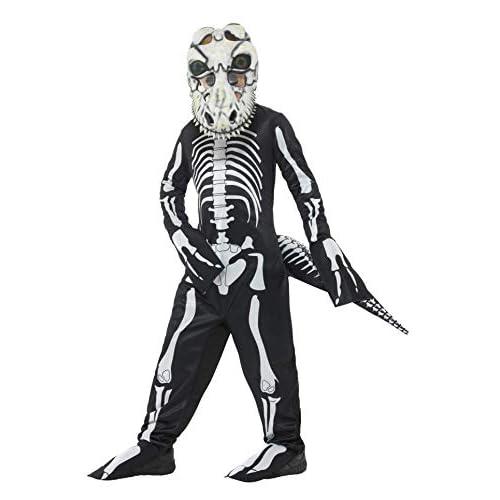 SMIFFYS Costume deluxe scheletro tirannosauro, Nero, con tuta, coda e maschera con occhi
