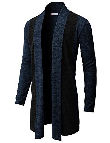 H2H Mens Casual Cardigan Ruffle Shawl Collar Long Length Drape Cape Overcoat HEATHERNAVY US L/Asia XL (CMOCAL057)