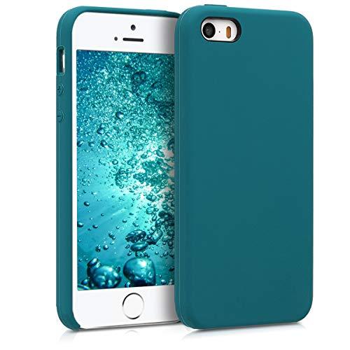 kwmobile Funda Compatible con Apple iPhone SE (1.Gen 2016) / 5 / 5S - Funda Carcasa de TPU para móvil - Cover Trasero en petróleo Mate