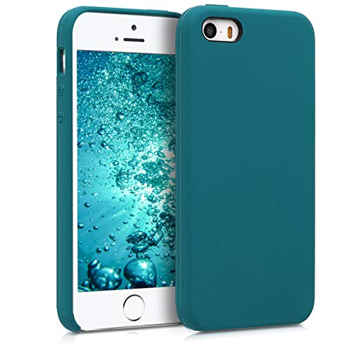 kwmobile Funda Compatible con Apple iPhone SE (1.Gen 2016) / 5 / 5S - Carcasa de TPU para móvil - Cover Trasero en petróleo Mate