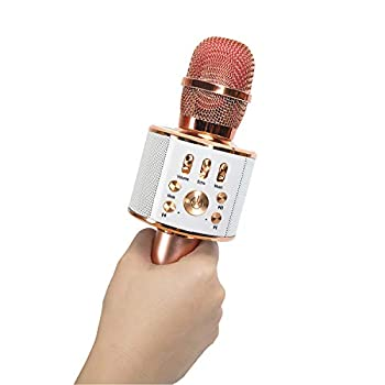 Diyomate Wireless Bluetooth Karaoke Microphone Handheld KTV Home Mic Singing Speaker Player Party Birthday Professional Microphones for iOS/Android  Rose Gold
