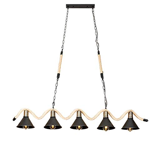 LIWENGZ American Light Candelabro de lujo Pantalla de metal creativa Lámpara colgante de cuerda de cáñamo hecha a mano retro Lámpara E27 Soporte de lámpara 5 Lámpara para lámpara de mesa Lámpara de cl