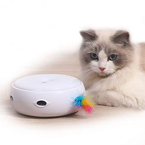 PETTOM Interaktives Katzen-Teaser-Spielzeug Intelligentes Kätzchenspielzeug Elektronisches Auto-Zufalls-Drehfeder, DREI Modi Plus Tag- und Nachtsensor Pet Entertainment Stimulieren die Katzensensoren