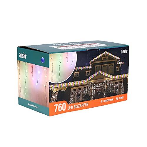 ANSIO 760 LED Tenda luminosa, Luci natalizie per interni e esterni, Multi colore, Catene luminose con 8 modalità/timer, Memoria, trasformatore incluso, 26 M lunghezza- Cavo Verde