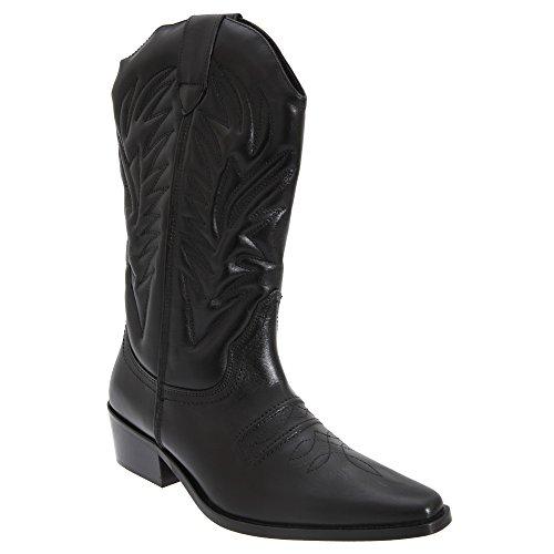 Woodland Gringos Herren High Clive Western Cowboy Stiefel (44,5 EU) (Schwarz)