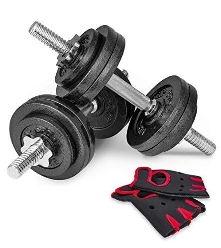 Hop-Sport Guss Kurzhanteln Hantel Set Hanteln 10kg 15kg 20kg 30kg 40kg 60 kg Gewichte (2 x 15 kg)