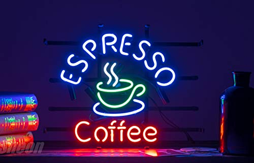 ZDQHLL Neon Sign-Neon Sign Espresso Coffee for Bedroom Garage Beer Bar Signs and Nightclub, Real Glass Neon Light Sign for Wall Decor Art