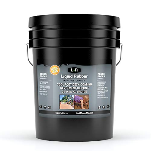 Liquid Rubber Cool Foot Deck and Dock Coating - Solar Protection Deck Paint, Non-Toxic Multi-Surface Decking Sealant, Easy to Apply, Neutral Beige, 5 Gallon