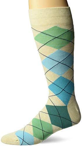 Hot Sox Men's Novelty Geometric Pattern Crew Socks, argyle (green/Blue), Shoe Size: 6-12