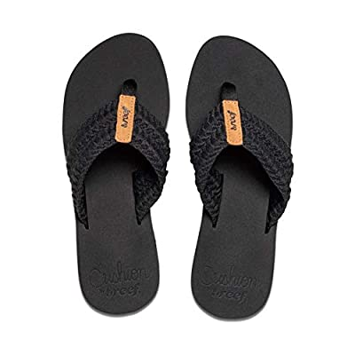 Reef Women's Sandals Cushion Threads   Super Soft and Comfortable Cushion Footbed Sandals for Women, Black, 8