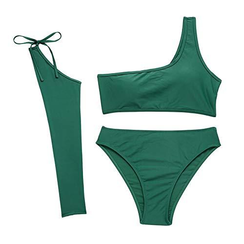 BOINN Traje de BaaO de una Pieza Verde de Color SóLido Sexy para Mujer Ropa de Playa Sin Espalda para Mujer Traje de BaaO BaaO NatacióN L