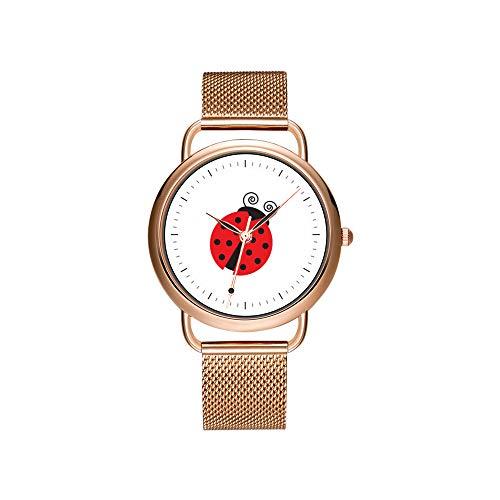 Frauen Uhren Marke Damen Mesh Gürtel Ultradünne Uhr wasserdichte Uhr Quarzuhr Weihnachten Nette Kleine Marienkäfer Armbanduhr