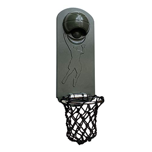 momok Iron Multifunction Bottle Opener Wall Mounted with Magnetic Basketball Bottle Opener Cap Catcher-Dark Green