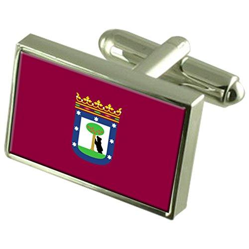 Madrid City Spain Flag Cufflinks Engraved Box