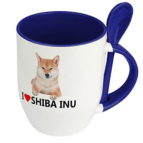 digital print Hundetasse Shiba Inu - Löffel-Tasse mit Hundebild Shiba Inu - Becher, Kaffeetasse, Kaffeebecher, Mug - Blau
