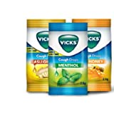 36 Lozenges Vicks Cough Drops Three Mix Varients Viz Menthol, Honey and Ginger by Vicks