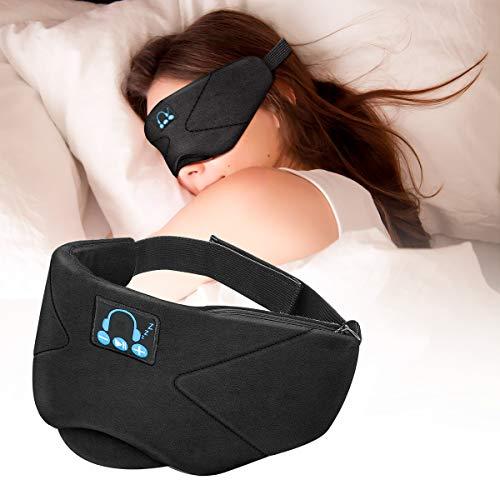 Laelr Auriculares de Dormir Bluetooth, Music Sleep Eye Shades 5.0 Diadema Bluetooth Inalámbrica Auriculares Deportivos con Altavoces Incorporados Micrófono para Viajar Siesta Yoga