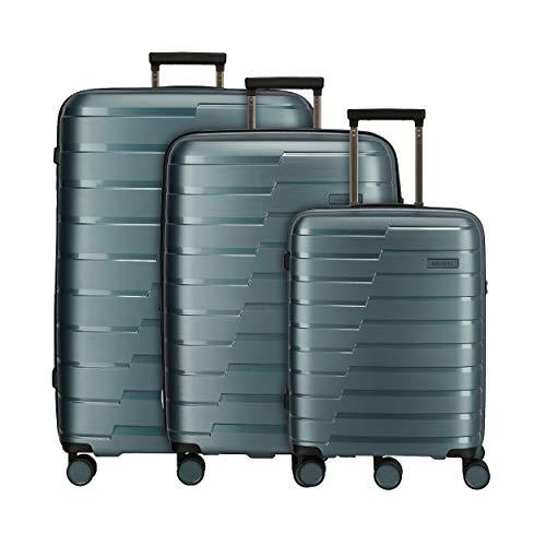 travelite 4-Rad Koffer Set Größen L/M/S mit TSA Schloss, Handgepäck erfüllt IATA-Bordgepäck Maß, Gepäck Serie AIR BASE: Funktionaler Hartschalen Trolley im coolen Look, 075340-25, eisblau