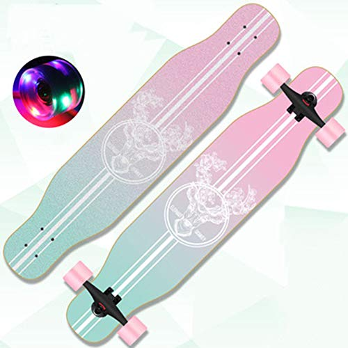 Longboards Kinder Cruiser 43 Zoll Street Fancy Retro Cruiser Anfänger 8-Lagigem Ahornholz Skateboards,Mädchen Jungen Erwachsene Profis Drop- Through Surfing Buntem LED-Lichtrad Penny Board,Rosa, HSGAV