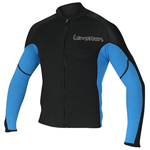 Lemorecn Men's 2mm Wetsuits Jacket Long Sleeve Neoprene Wetsuits Top (2021blueM)
