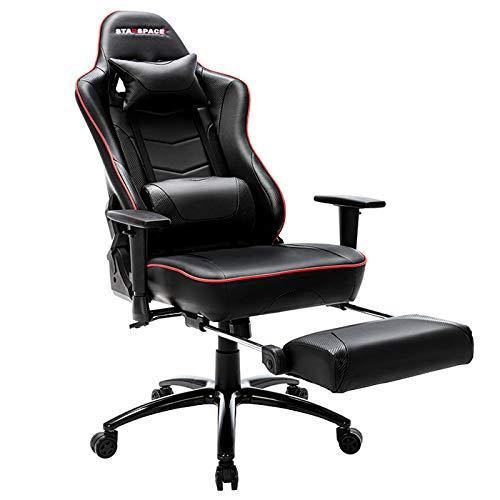 Gaming Stuhl Bürostuhl, Computer Gaming Sessel mit Fußstütze bis 125 kg Armlehne Verstellbar Massage Lendenkissen Ergonomische Schreibtischstuhl Einstellbarer Neigungswinkel - Schwarz