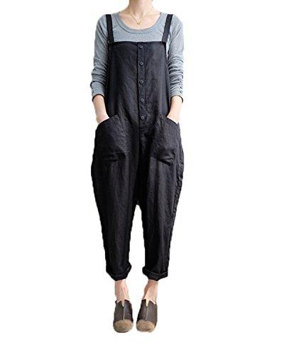 VONDA Damen Latzhose Retro Lange Overall Größe Jumpsuit Baggy Sommerhose A-Schwarz M/EU38-40