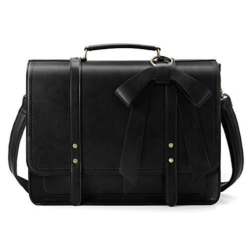 ECOSUSI Aktentasche Damen Laptoptasche 15,6 Zoll Vintage Umhängetasche mit Abnehmbarer Schleife Schultasche Schwarz