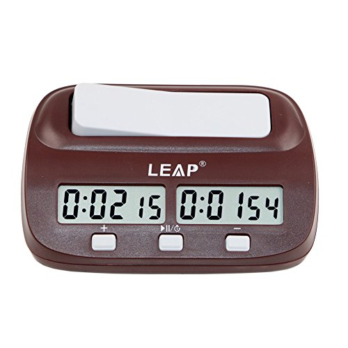 T Tocas Reloj de ajedrez Leap Digital Count UP / Down Reloj de ajedrez Bono de retraso, portátil (Brown)