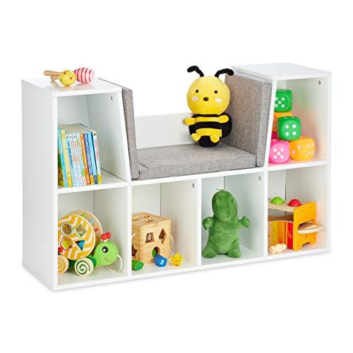 Relaxdays Bücherregal mit Sitzkissen, Kinderregal mit 6 Fächern, 63x103x30 cm, gepolstert, Sitzbank Kinderzimmer, weiß