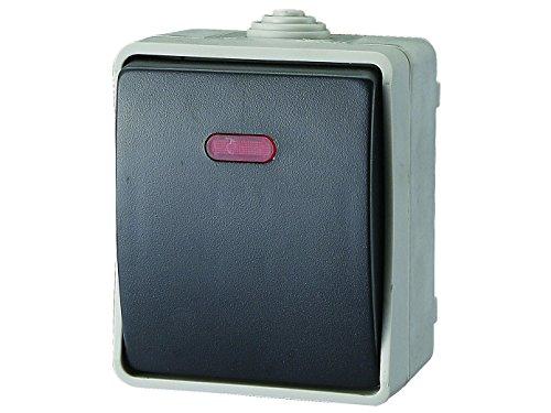 Verlichte opzet-drukknopschakelaar/controleschakelaar voor vochtige ruimtes, IP54, Aquatop, GAO 9877