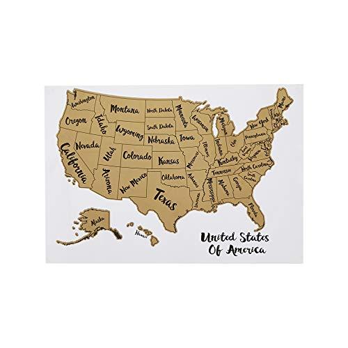 AmazonBasics Rubbel-Poster der USA, Landkarte mit Schaber und Ortungszubehör, 43 x 30 cm