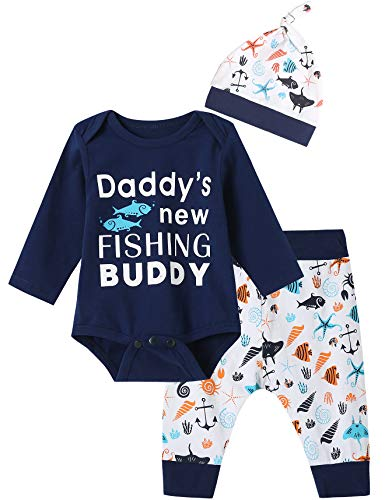 3PCS Baby Boys Daddys New Fishing Buddy Outfit Set Long Sleeve Bodysuit (Blue01, 3-6 Months)
