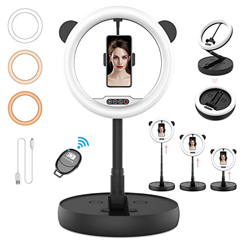 "11"" Ring Light with Stand HEERTTOGO Foldable Selfie Ring Light, Led Ring Light with Bluetooth Remote Control 3 Color and 10 Brightness Levels with Adjustable Stand Ring Light for iPhone Android"