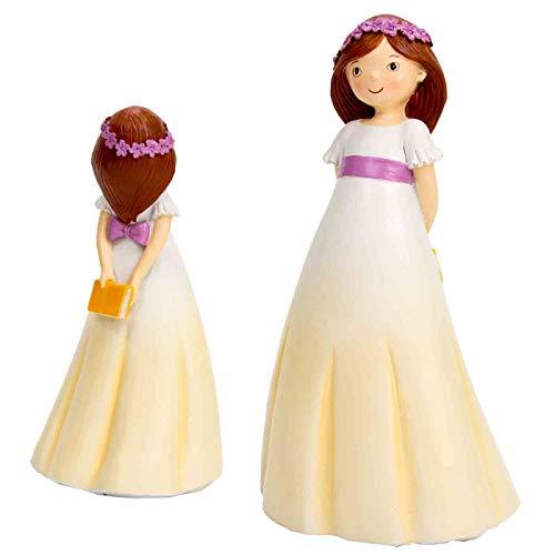 Vendido y Enviado por CAPRILO Estupenda y original figura para tarta de comunión realizada en resina de una niña vestida de comunión con un libro entre las manos colocadas detrás. Sorprende a tus invitados de boda con una tarta muy original gracias a...