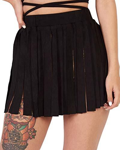iHeartRaves Black Boho Fling N' Fringe Cowgirl Faux Suede Skirt (Small)