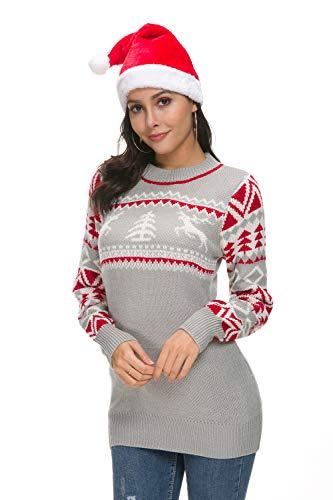 Hanlolo Ugly Christmas Women Sweater Shirts Long Sleeve Round Neck Reindeer Xmas...